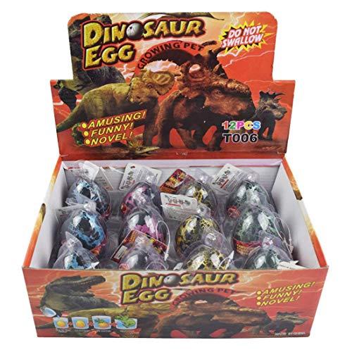 Yeelan Dino Dinosaurier Dragon Eggs Ausbrüten Wachsende Spielzeug Große Pack von 12 Stück, schwarzer Riss