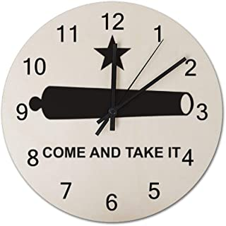 Come and Take It Gonzales Flag Texas BattleDecorative Clock Quiet Non-Ticking Quartz Clock Solid Wood Weighs 0.8 pounds, Round 12 inches