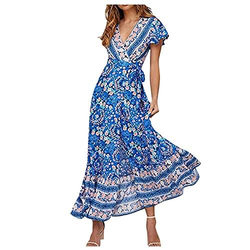 ASDVB Dames sexy V-hals gebreide jas broken boeket tailleriem hoge taille korte mouwen split print lange jurk, lichtblauw, L