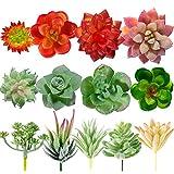 Whaline - 13 plantas suculentas artificiales sin macetas, suculentas artificiales con textura realista, plantas de flocado para decoración de paisajes y jardines