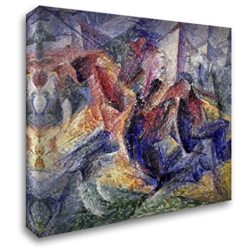 Boccioni, Umberto 24x19 Gallery Wrapped Stretched Canvas Art Titled: Horse, Horseman and Buildings
