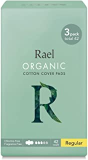 Rael Organic Cotton Menstrual Pads - Regular Size, Ultra Thin Natural Sanitary Napkins With Wings (42 Count)