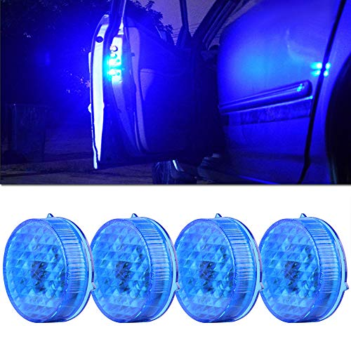 Sidaqi 4pcs Wireless Universal Car Door Warning Lights Blu, LED magnetico lampeggiante Luci di sicurezza aperte Sicurezza anti-collisione Luci di avvertimento Auto On / Off Impermeabile