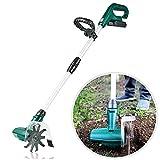 WAWZNN 20V Handfräse gartenfräse elektrisch, Tragbare elektrische Pinne, Schnurlose Garten kultivator mit wiederaufladbarer Batterie für Gärten, Gemüsebeete, Gewächshäuser