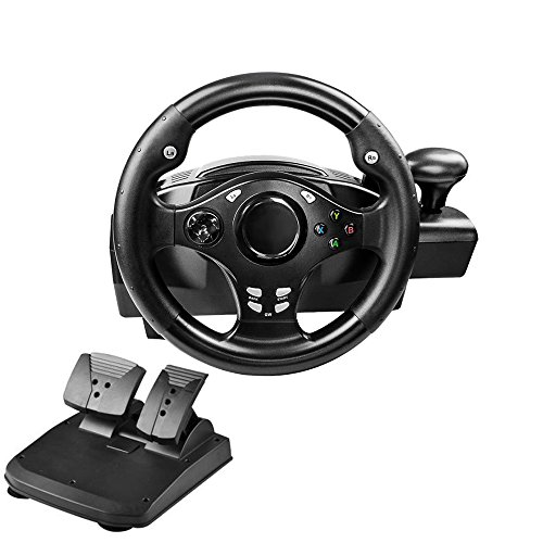 PinPle Dual-Motor Racing Wheel, 270 Degree Rotation Steering Wheel for PS3/PS4/XBOX ONE/Xbox 360/NS Switch/PC/Android, with Pedals, Gear Shifter (Black)