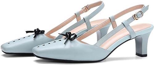 Square Toe Piel Simple suave Retro arco glisser sobre Low Heel sandalias de los danza fiesta boda zapatos