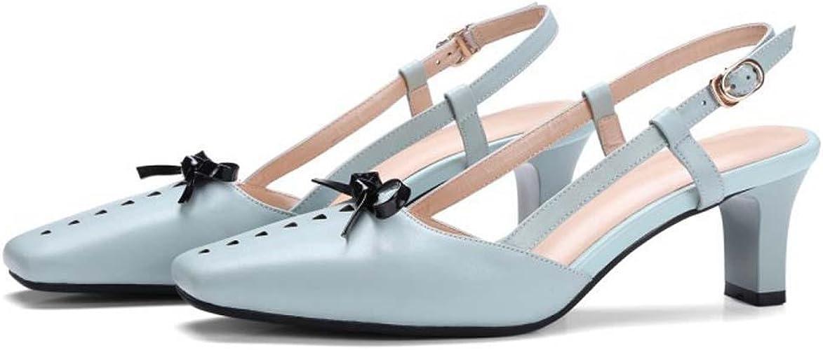 Square Toe Cuir Simple Doux Rétro Arc Glisser sur Low Heel Des sandales Danse Fête Mariage Chaussures , light bleu , 38