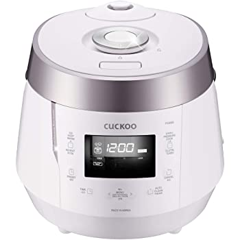 Cuckoo CRP-P1009SW 10 Cup Electric Heating Pressure Cooker & Warmer – 12 Built-in Programs, Glutinous (White), Mixed, Brown, GABA Rice, [1.8 liters]