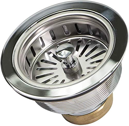Highcraft 9735 Heavy Duty Kitchen Sink (3-1/2 Inch) Stainless Steel Drain Assembly With Strainer Basket KOHLER Style Stopper, 1.79 (Pack of 2)