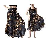 Falda Larga Mujer Playa Vestido Verano Bohemio Gitano Hippie Vestido Halter Vestido Fiesta Boho Chic Falda Cintura Alta Elástico Dobladillo Asimétrico Vestido A línea(Negro 2,S)