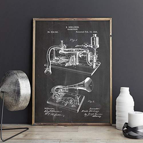 GUDOJK muurschilderij grammofoon poster platenspeler blauwe pauzes kunstdruk muziekkamer decor speeldoos canvas schilderij muzikanten cadeau-idee 40x60cm(16x24inch)