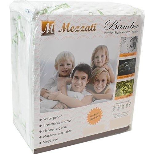 Mezzati Bamboo Premium Plush Mattress Protector - Soft, Quiet, Comfortable Topper, Cover - Hypoallergenic, Deep Fitted Pocket (King Size)