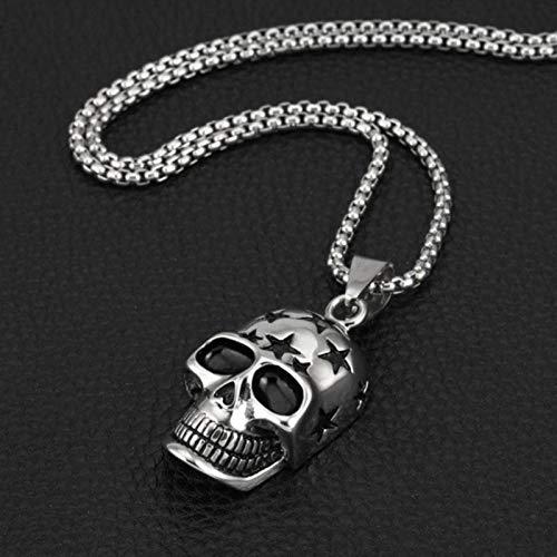 Collar con colgante de calavera punk para hombre, gótico, regalo de Halloween y niño, cadena de acero inoxidable