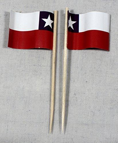 Buddel-Bini Party-Picker Flagge Chile Papierfähnchen in Profiqualität 50 Stück 8 cm Offsetdruck Riesenauswahl aus eigener Herstellung