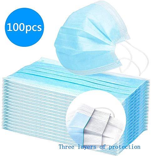 100 Stück Einweg Maske Gesichtsmaske Vlies Einwegmaske Mundschutz Staubschutz mit Ohrschlaufen