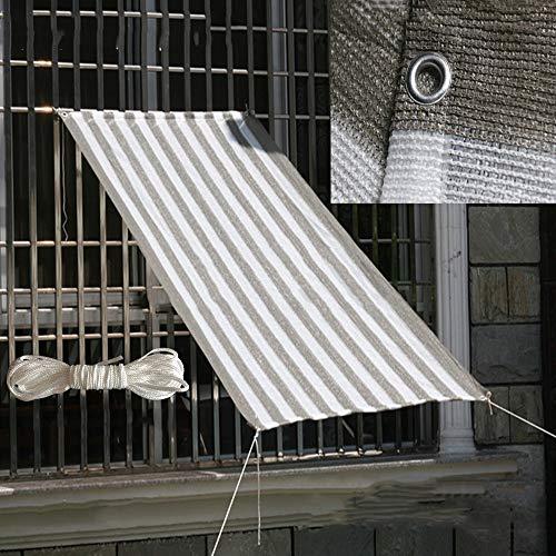WXQIANG Sonnenschutznetz, Schattennetz, Gartenbeleuchtung, Lichtdurchlässigkeit, Isolierungsnetz für Balkon und Terrasse mit Kordelzug, Naturfaser, Grau-weißer Streifen, 0.5X3M