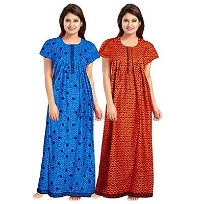 YUKATA Womens Cotton Printed Nighty, Free Size.(2PCSCOMBO)