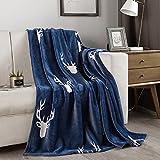 Flannel Fleece Throw Blanket, Lightweight All-Season Plush Blanket, Microfiber Fluffy Blanket for Couch(Throw, Deer)