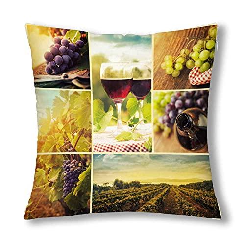 HZLM Funda de almohada decorativa para collage de vino, uvas y viñedos, 45 x 45 cm