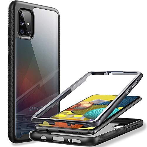 LaimTop Samsung Galaxy A51 5G Funda, 360° Protección Completa con Protector de Pantalla Doble Capa TPU Bumper Antideslizante Resistente a Golpes Carcasa para Samsung Galaxy A51 5G Negro