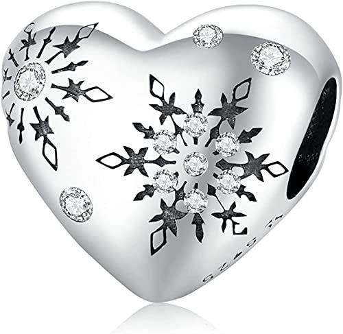 X&Z-XAOY Colgante De Copo De Nieve De Amor De Invierno Hecho A Mano para Bricolaje, Cuentas Colgantes De Plata De Ley S925, Compatible con Todas Las Pulseras Y Collares con Dijes