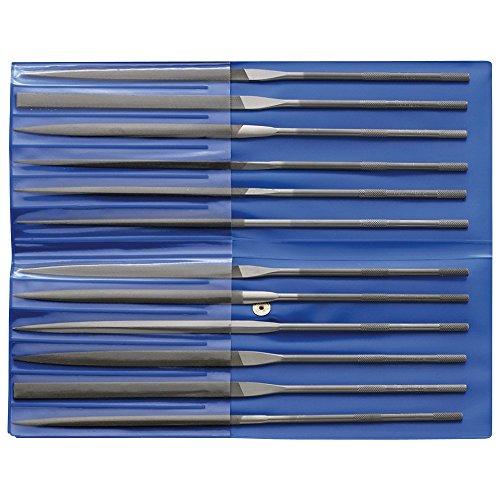 CORRADI-Nadelfeilen-Set, 12-teilig, Schweizer Hieb 2, 160mm, 12314084 – Für die mittelfeine Präzisionsbearbeitung kleinster Flächen, Durchbrüche, Geometrien, Profile und Radien