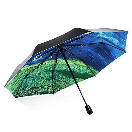 Taschenschirm Kinder Mini Kinder automatik Damen- Faltender Regenschirm-Gewitter-Weizen-Feld-Sonnenschutz-UVregen