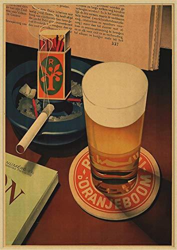 binghongcha Impresión En Lienzo Sin Marco Cartel Retro De Cerveza Decoración del Hogar Cartel Dibujo Pintura Pegatinas De Pared K-84 (50X70Cm) Sin Marco