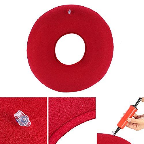 Aufblasbares Ringkissen, rundes Sitzkissen Anti-Dekubitus für Hämorrhoiden-Kissen mit Pumpe Rundes Kissen Steißbein Steißkissen Ring Kissen Behandlung Bett Wunden(01)