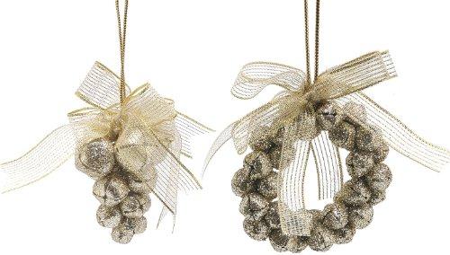 Feestelijke 60 mm champagne gouden glitter metalen Jingle bel krans en Jingle Bell druif cluster opknoping decoratie met Organza lint strik
