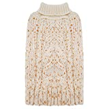 KYEESE Dog Sweaters Turtleneck Dog Pullover Sweater Knitwear Gold Yarn Warm Pet Sweater for Fall Winter (Small, Beige)