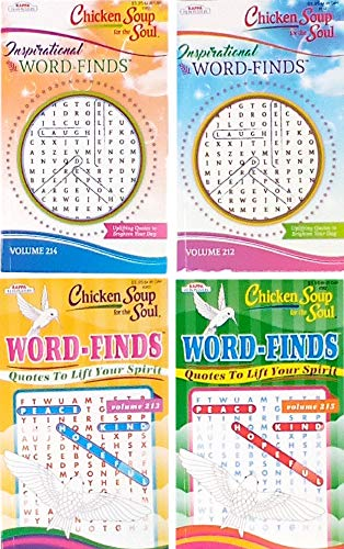 Word Finds Puzzle Books For Adults Pack of 4 Includes 2 Inspirational Word Finds and 2 Quotes To Lift Your Spirit (titles may vary)