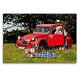 CALVENDO Toile Textile de qualité supérieure 120 cm x 80 cm, Pique-Nique avec Canard | Tableau sur châssis – Impression sur Toile – Citroën 2CV – Rouge Canard (Technologie Technologie