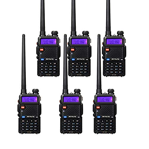 Retevis RT-5R Dual Band Two-Way Radio 128CH FM Radio 2 Way Radio Rechargeable Long Range Walkie Talkies for Adults (6 Pack)