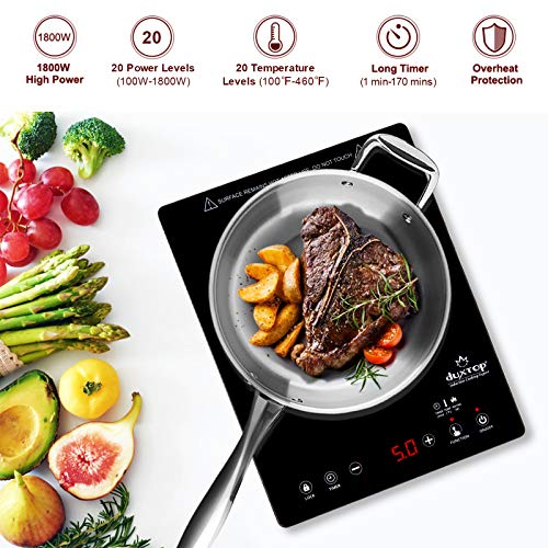 Duxtop E200A High End Full Glass Portable Touch Sensor Induction Cooktop Countertop Burner Stainless Steel 1800W, Black