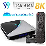 Android 9.0 TV Box,A95X F3 Air Smart TV Box con Amlogic S905X3 Quad-Core Cortex-A55 CPU,4GB RAM/64GB ROM Admite 8K 3D 2.4GHz/5.0GHz WiFi Bluetooth 4.0 con Mini Wireless Backlight Keyboard