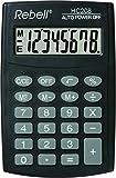 REBELL Calculatrice hc208de re plus simple, affichage 8chiffres écran LCD et triple fonction mémoire, Noir