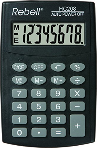 Rebell RE-HC208 Eenvoudige rekenmachine, 8-cijferig LCD-display en drievoudige geheugenfunctie, zwart