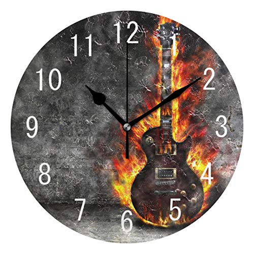 Use7 Runde Acryl-Wanduhr mit brennender Gitarre, kein Ticken, geräuschlos, Kunst für Wohnzimmer, Küche, Schlafzimmer