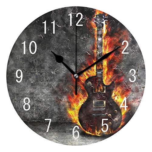 Use7 Wanduhr mit brennender Gitarre, rund, Acryl, geräuschlos, für Wohnzimmer, Küche, Schlafzimmer