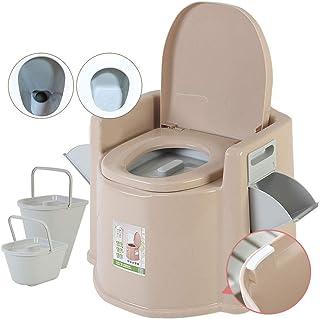 Portátil Químico Baño WC con Tapa& Reposabrazos para Camping Viaje Ancianos Caravana Barco con Cisterna Carga150kg Embarazadas Paciente Anciano Silla