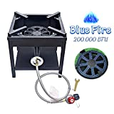 ARC USA, 4242S 200,000 BTU Outdoor High Pressure Cast Iron Propane Gas Cooker, Camping Stove, Adjustable 0-20 PSI CSA Regulator & Hose, Great for Outdoor Cooking and Backyard, NO Assembly Required