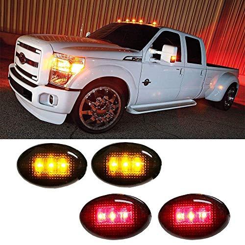 iJDMTOY Smoked Lens Amber/Red LED Rear Bed Side Marker Lights Set Compatible...