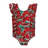 Kleinkinder Baby Mädchen Badeanzug Ärmellos Einteilig Schwimmanzug für 1-5 Jahre Mädchen Beach Wear Bademode (Rote Wassermelone, 1-2 Jahre)