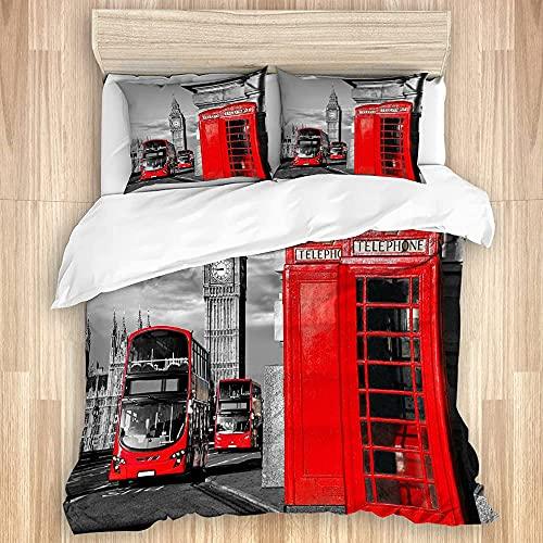 Cómodo juego de funda nórdica para dormitorio, cabina telefónica de Londres en la calle Icono cultural local tradicional Engluk Tema retro Juego de ropa de cama suave de lujo de 3 piezas (sin edredón)