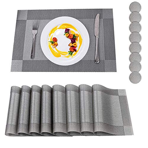 Placemats, Placemats and Coaster Sets 8, PVC Heat-resistant Table Mats Set Washable with 8 x Non-slip Placemats + 8 x Round Coasters for Kitchen Dining Table (Set of 8, Grey)
