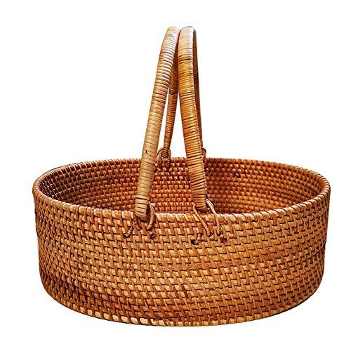 Cesta de mimbre tejida a mano para picnic, cesta de almacenamiento para comida de cocina y frutas de desayuno con asa