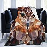 BROWCIN Mosaico Testa di Gufo in Triangolo Collegato Forme Stile retrò Funk Geometrico Boho Travel/Single (130x150cm) Coperta da tiro in Morbida Flanella