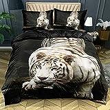 Zhsooly - Juego de cama con diseño de animales, 3 piezas, funda de edredón y fundas de almohada de microfibra