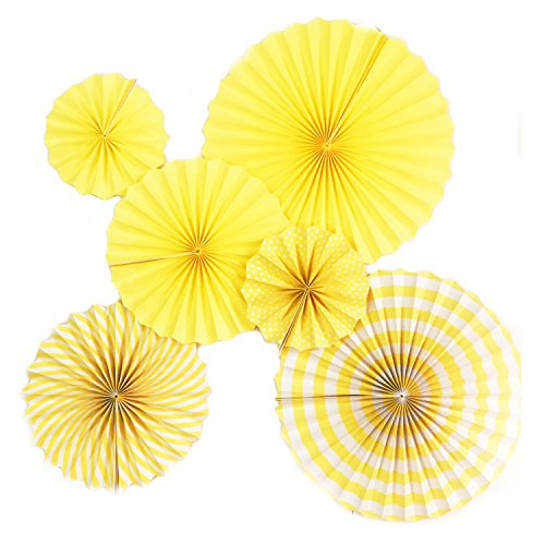 Ovee Lando Yellow Fans Party Supplies Wedding decor Set of 6